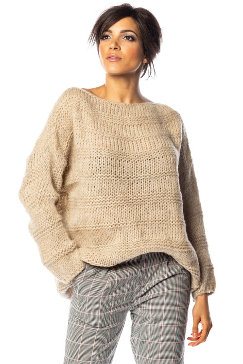Pull laine et mohair, maille grosse cote