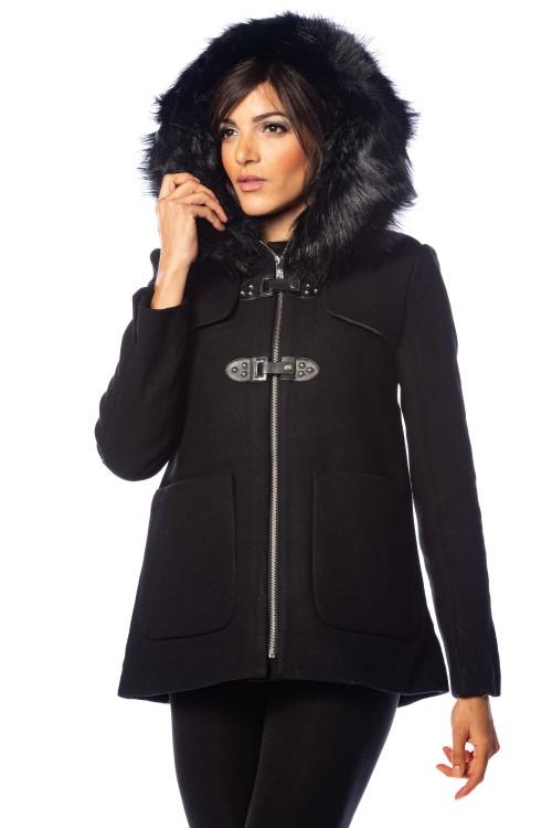Manteau 3/4 à capuche bordée de fausse fourrure