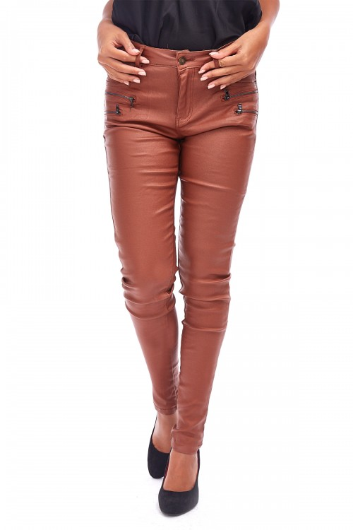 Pantalon slim effet ciré