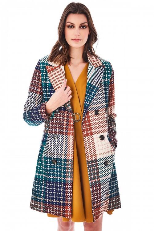 Manteau croisé col cranté imprimé