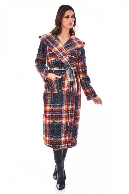 Manteau long en laine à carreaux bord à bord non doublé