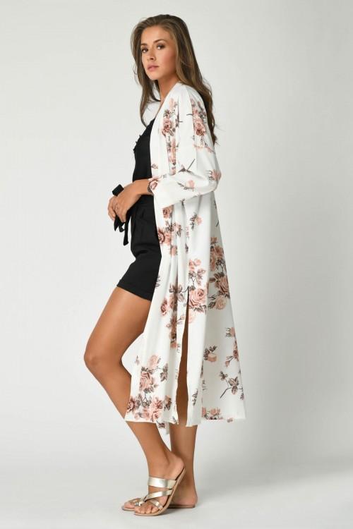 Manteau long style kimono