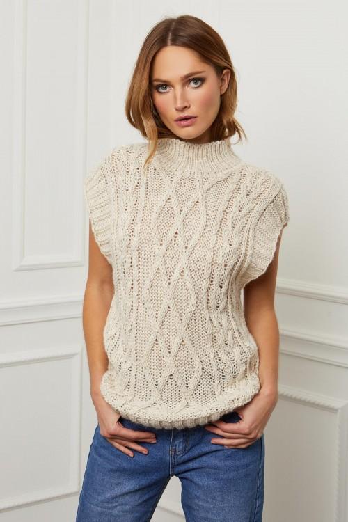 Pull en laine maille tréssée