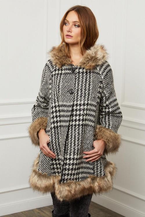 Manteau évasé à capuche