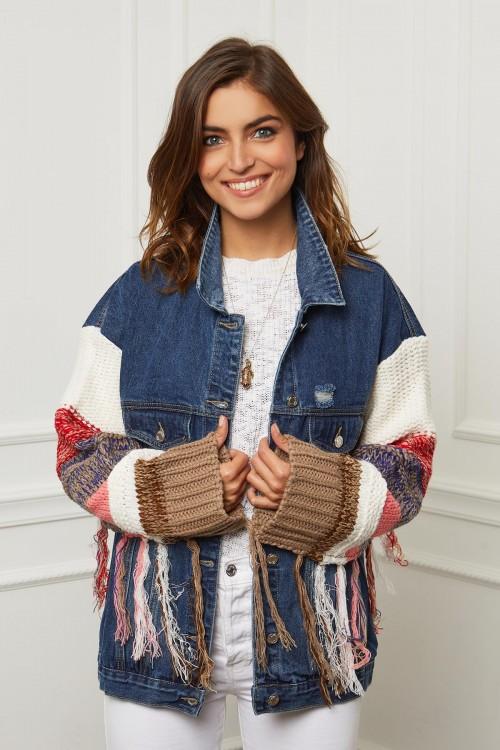 Veste en jean à manches tricotées