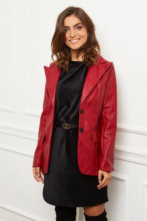 Veste longue en simili cuir non doublée