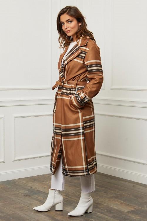 Manteau long bord à bord motif écossais
