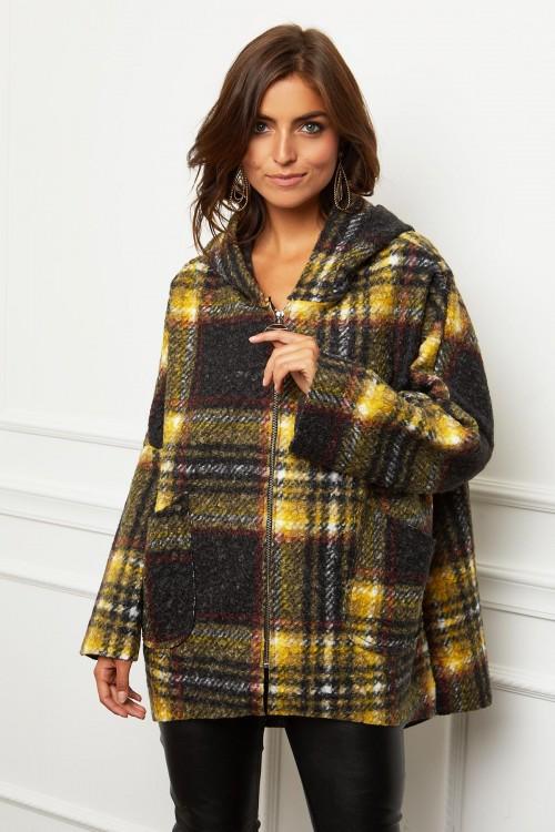 Manteau  style capeline à motif écossais