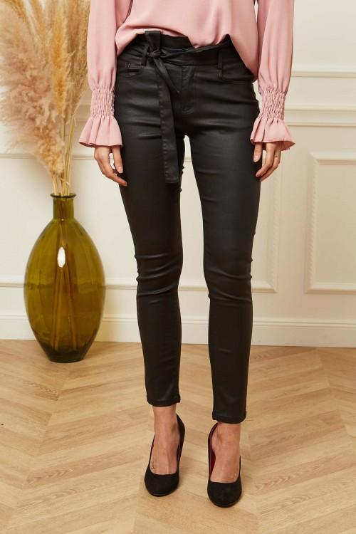 Pantalon slim aspect ciré