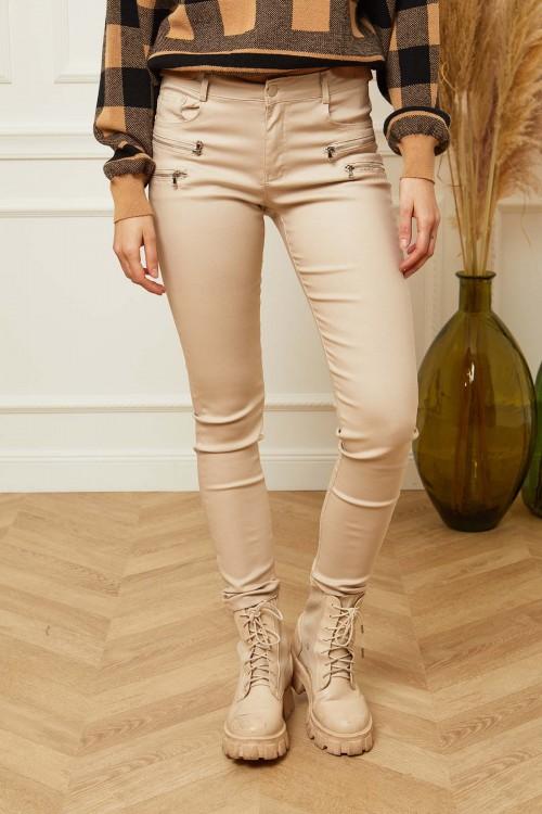 Pantalon slim aspect ciré à fermtures éclairs déco