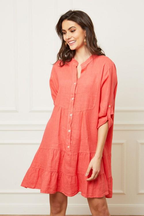 Robe chemise longue en lin