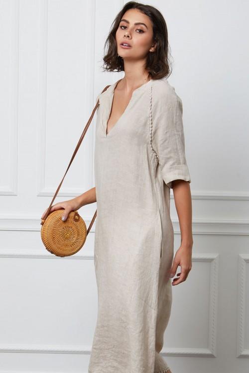 Robe chasuble longue en lin