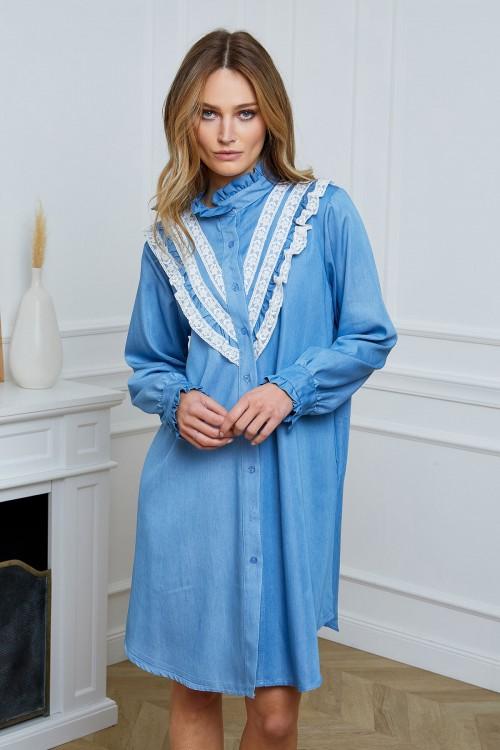 Robe chemise galon dentelle