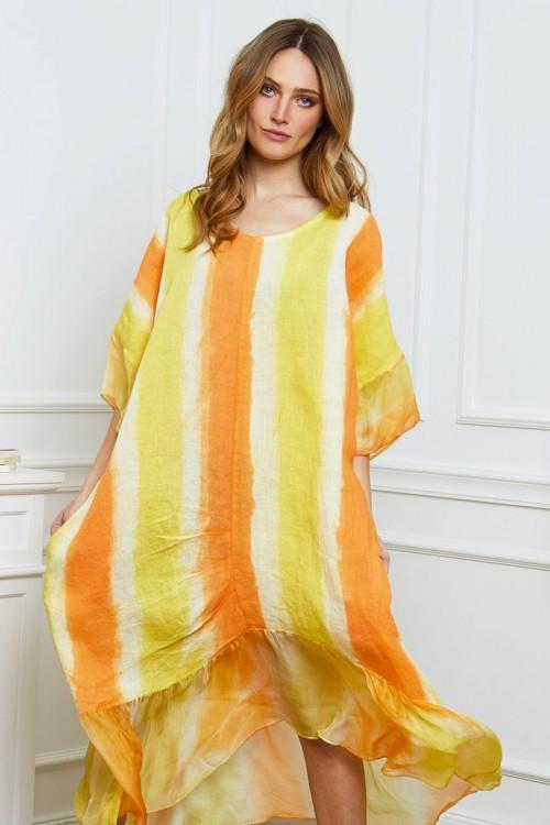 Robe longue en lin imprimé à rayures