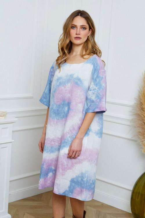 Robe tunique longue en lin imprimé tie and die