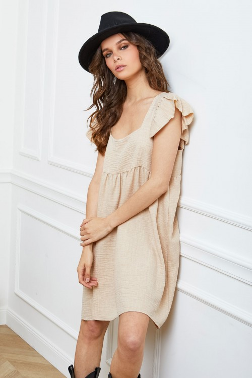 Robe trapèze ample, dos nu