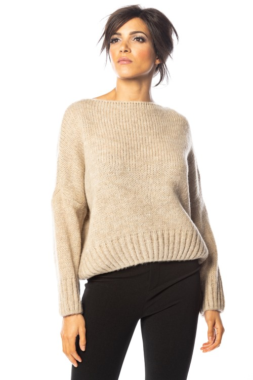 Pull laine et mohair maille grosse cote