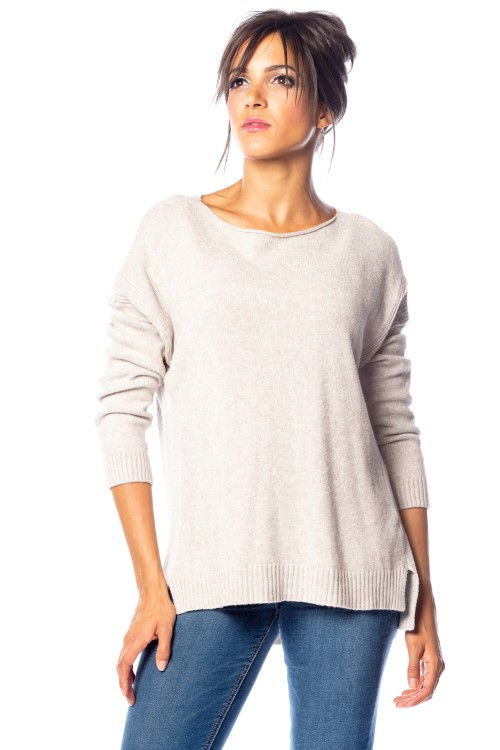 Pull cachemir col rond