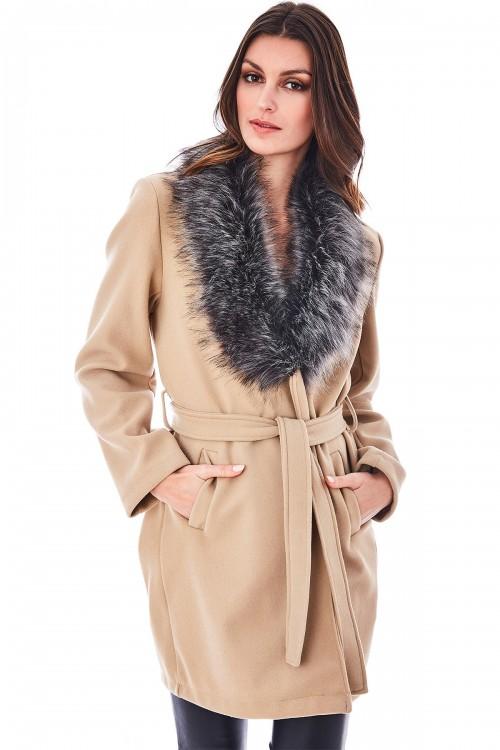 Manteau bord à bord col en fausse fourrure non doublé