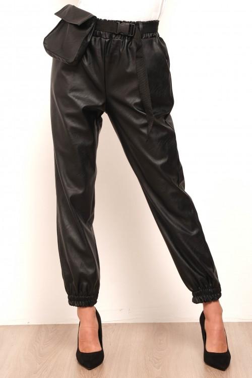 Pantalon simili cuir avec banane