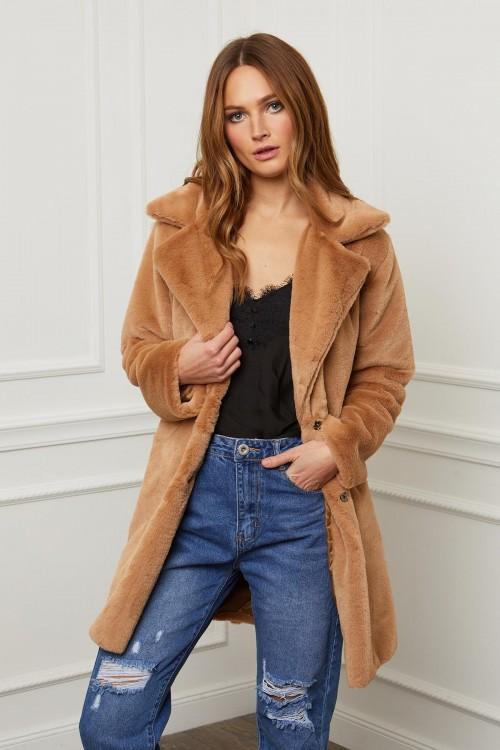 Manteau en peluche bord à bord