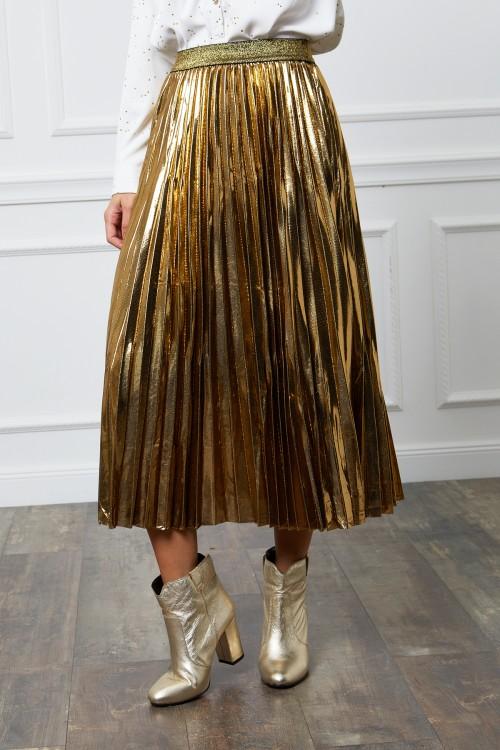 Jupe longue plissée aspect brillant