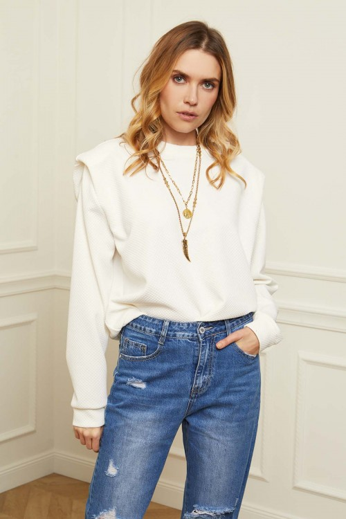 Sweatshirt gaufré épaules en V