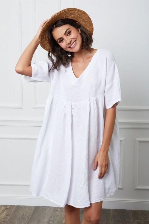 Robe courte ample en lin