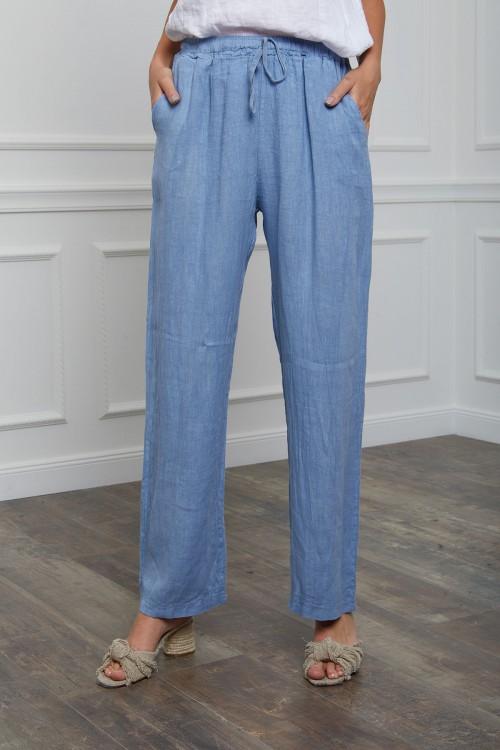 Pantalon coupe droite en lin