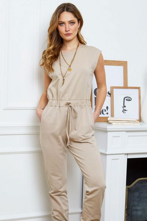 Combinaison pantalon sans manche en coton