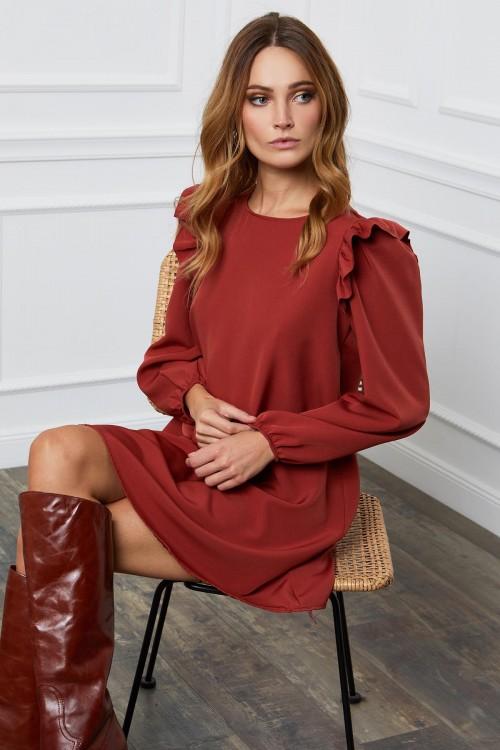 Robe trapèze à manches longues